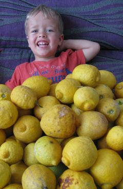 Alex covered with lemons!